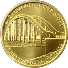 Zlatá mince 5000 Kč Železobetonový most v Karviné - Darkově 2014 Standard