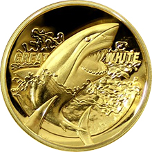 Zlatá mince Žralok bílý 1 Oz High Relief 2015 Proof