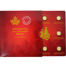 Zlaté investiční mince Maplegram8 Maple Leaf 8 x 1 gram