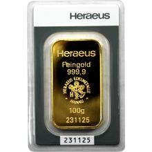 100g Heraeus Nemecko Investičná zlatá tehlička
