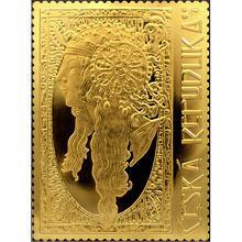 Zlatá půluncová medaile s motivem známky Blondýnka