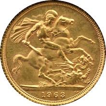 Zlatý Sovereign Kráľovná Alžběta II. 1963