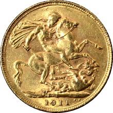 Zlatý Sovereign Král Jiří V. 1911