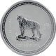 Stříbrná investiční mince 2007 Year of the Tiger Rok Tygra Lunární 1 Oz 2010